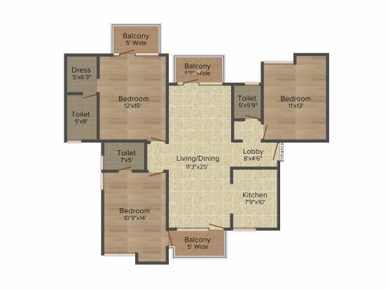 Omaxe Hills 2 (3BHK+3T (1,640 sq ft) Apartment 1640 sq ft)
