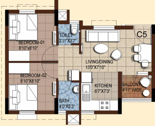 Akshaya Tango (2BHK+2T (1,222 sq ft) Apartment 1222 sq ft)
