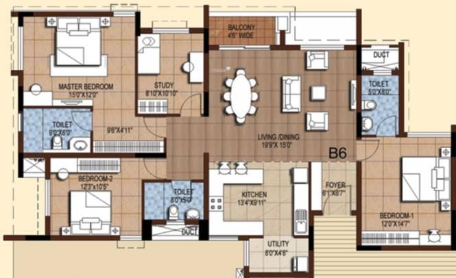 Akshaya Tango (3BHK+3T (1,912 sq ft) + Study Room Apartment 1912 sq ft)