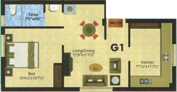 Anandam Coral (1BHK+1T (575 sq ft) Apartment 575 sq ft)