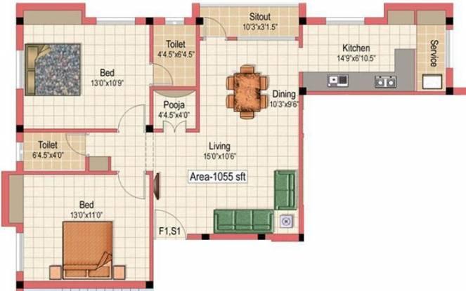 Kanakadhara Thiruvengadam (2BHK+2T (1,018 sq ft)   Pooja Room Apartment 1018 sq ft)