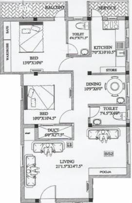 Sri Mount View (2BHK+2T (1,107 sq ft) Apartment 1107 sq ft)