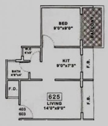 Royal Green Corner (1BHK+1T (625 sq ft) Apartment 625 sq ft)