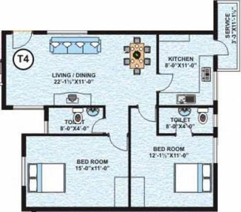 Salma Classic Towers (2BHK+2T (855 sq ft) Apartment 855 sq ft)