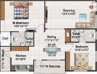 Blue Stone Splendor (2BHK+2T (1,280 sq ft) Apartment 1280 sq ft)