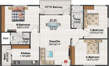 Blue Stone Splendor (3BHK+2T (1,530 sq ft) Apartment 1530 sq ft)