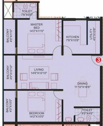 Marian The Corniche (2BHK+2T (1,165 sq ft) Apartment 1165 sq ft)