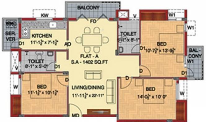 Fomra Westend (3BHK+2T (1,402 sq ft) Apartment 1402 sq ft)