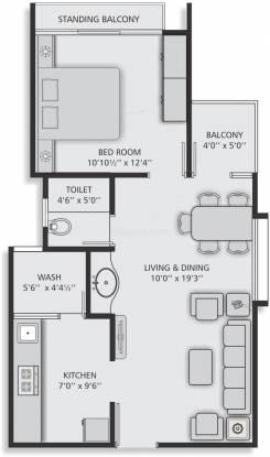 Panacea Residency (1BHK+1T (747 sq ft) Apartment 747 sq ft)