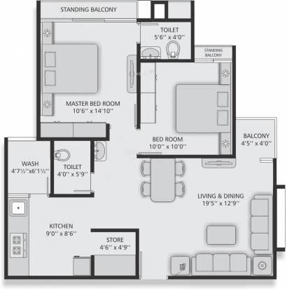 Panacea Residency (2BHK+2T (1,098 sq ft) Apartment 1098 sq ft)