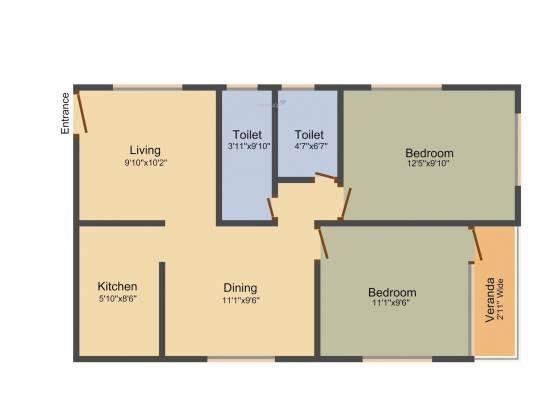 Goldwin Sharnam (2BHK+2T (964 sq ft) Apartment 964 sq ft)