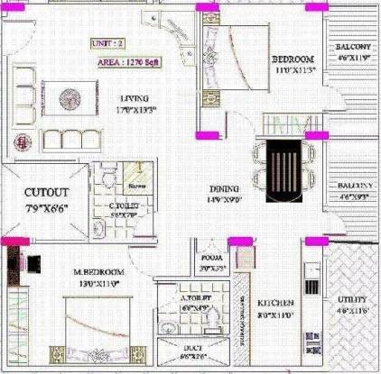 Sunshine Silicon Valley (2BHK+2T (1,270 sq ft)   Pooja Room Apartment 1270 sq ft)