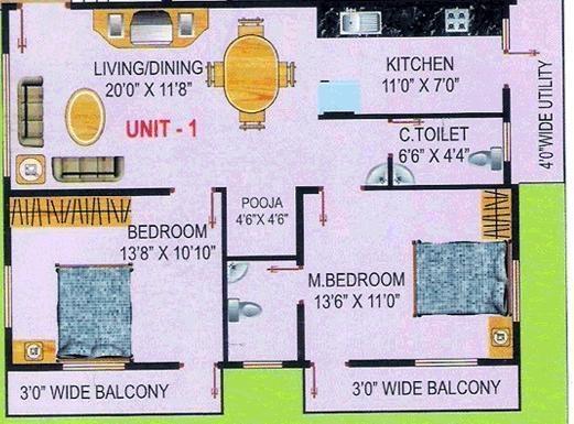 Nandi Elite (2BHK+2T (1,141 sq ft)   Pooja Room Apartment 1141 sq ft)