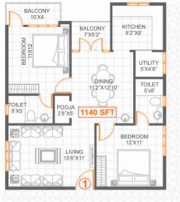 SSVR Lilac (2BHK+2T (1,140 sq ft) Apartment 1140 sq ft)