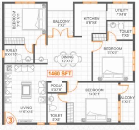 SSVR Lilac (3BHK+3T (1,460 sq ft) Apartment 1460 sq ft)