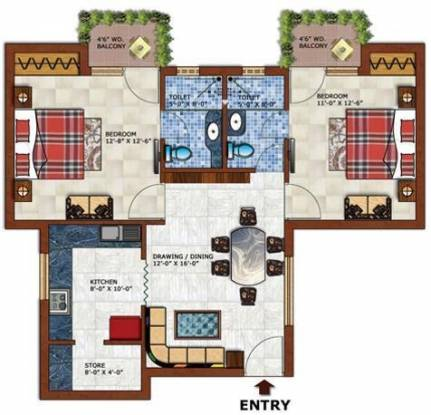 Pushpanjali Gardenia (2BHK+2T (1,325 sq ft) Apartment 1325 sq ft)