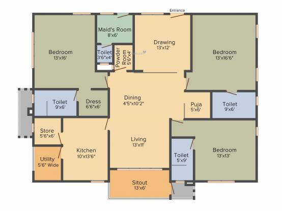 Trend Sumanjali (3BHK+4T (2,375 sq ft)   Servant Room Apartment 2375 sq ft)