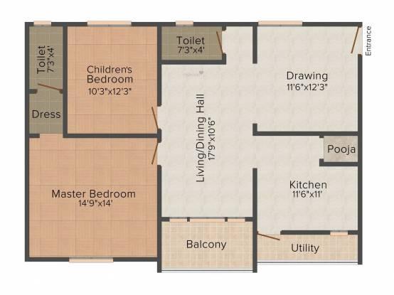 Jaya Bharathi Sagar Heights (2BHK+2T (1,250 sq ft) Apartment 1250 sq ft)