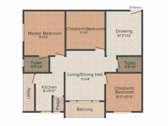 Jaya Bharathi Sagar Heights (3BHK+3T (1,180 sq ft) Apartment 1180 sq ft)