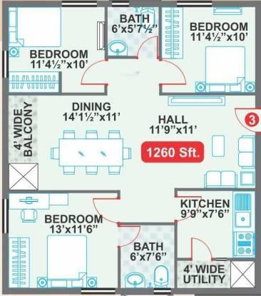 Legend Cyrus (3BHK+2T (1,260 sq ft) Apartment 1260 sq ft)