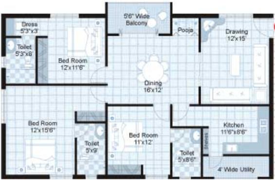 Sri Banjara Classic (3BHK+3T (1,660 sq ft)   Pooja Room Apartment 1660 sq ft)