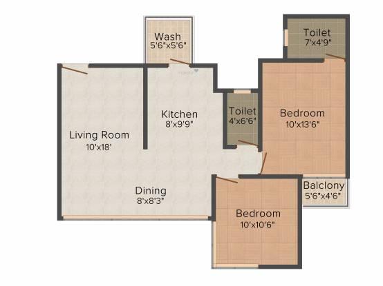 Ganesh Malabar County (2BHK+2T (1,167 sq ft) Apartment 1167 sq ft)
