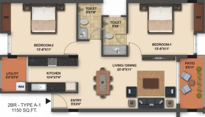 UKN Interlaken (2BHK+2T (1,150 sq ft) Apartment 1150 sq ft)