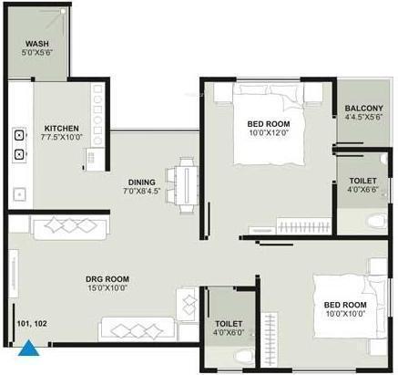 Mahadev Sri Nand City 6 (2BHK+2T (945 sq ft) Apartment 945 sq ft)