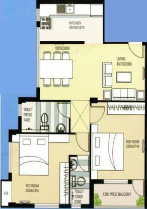 Saket Saket Nagar (2BHK+2T (1,076 sq ft) Apartment 1076 sq ft)
