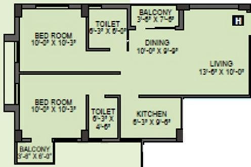 Citadel Silver Space (2BHK+2T (944 sq ft) Apartment 944 sq ft)