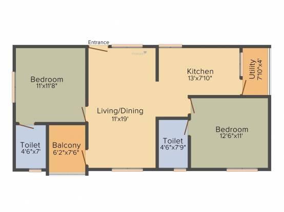 NR White Meadows (2BHK+2T (1,029 sq ft) Apartment 1029 sq ft)
