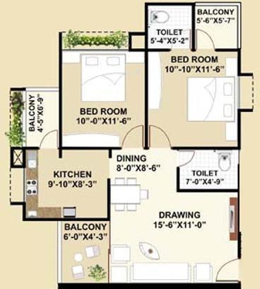 Satyamev Famosa (2BHK+2T (1,170 sq ft) Apartment 1170 sq ft)