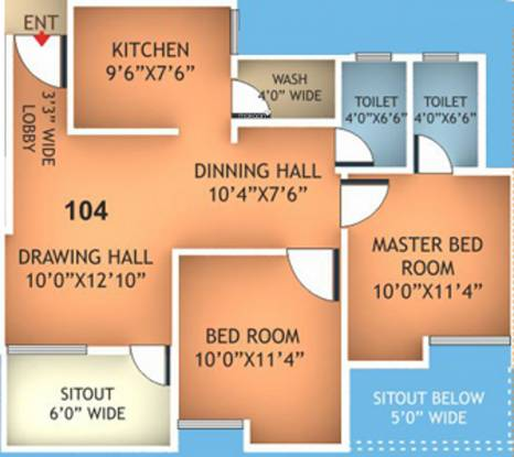 Fakhri Harmony Residency (2BHK+2T (955 sq ft) Apartment 955 sq ft)