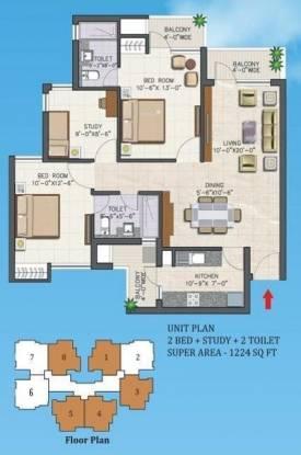 Dhoot Vistara Emerald (2BHK+2T (1,224 sq ft) Apartment 1224 sq ft)