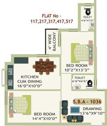 Essen Krishna Priya Residency (2BHK+2T (1,036 sq ft) Apartment 1036 sq ft)