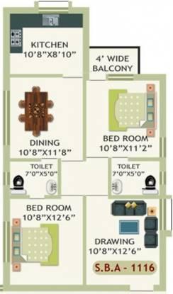 Essen Krishna Priya Residency (2BHK+2T (1,116 sq ft) Apartment 1116 sq ft)