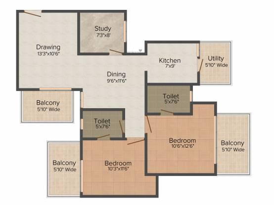 KLJ Greens (2BHK+2T (1,279 sq ft) + Study Room Apartment 1279 sq ft)