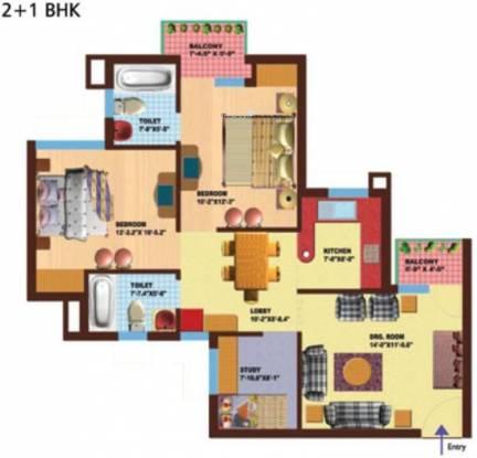 SRS Royal Hills (2BHK+2T (1,133 sq ft) Apartment 1133 sq ft)