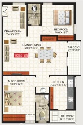 Green Residency (2BHK+2T (1,095 sq ft) Apartment 1095 sq ft)
