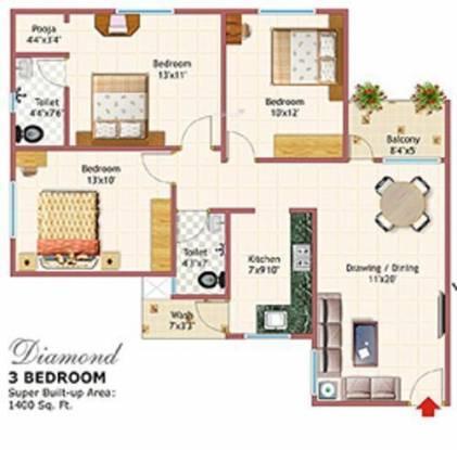 Chinarr Dream CT (3BHK+2T (1,400 sq ft) Apartment 1400 sq ft)