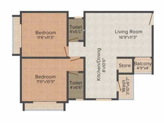 PSY Pramukh Oasis (2BHK+2T (1,125 sq ft) Apartment 1125 sq ft)