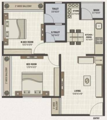 PSY Pramukh Paramount (2BHK+2T (1,107 sq ft) Apartment 1107 sq ft)