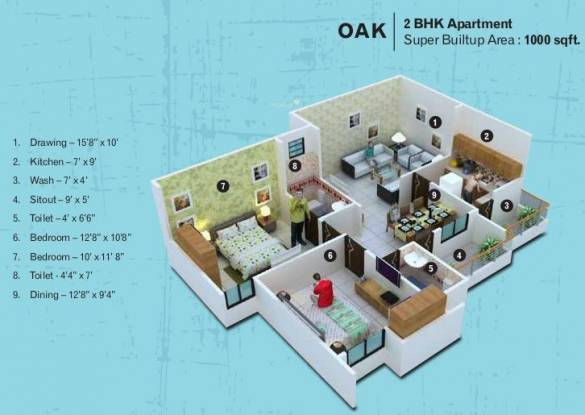 Kamal The Bellaire Mint (2BHK+2T (1,000 sq ft) Apartment 1000 sq ft)