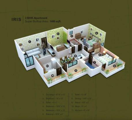 Kamal The Bellaire Mint (3BHK+3T (1,400 sq ft) Apartment 1400 sq ft)