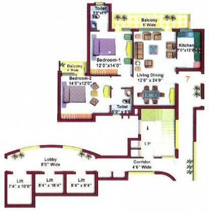Eros Kenwood Towers (2BHK+2T (1,283 sq ft) Apartment 1283 sq ft)