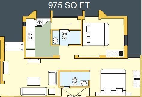 Bakeri Sakshat Apartments (2BHK+2T (975 sq ft) Apartment 975 sq ft)