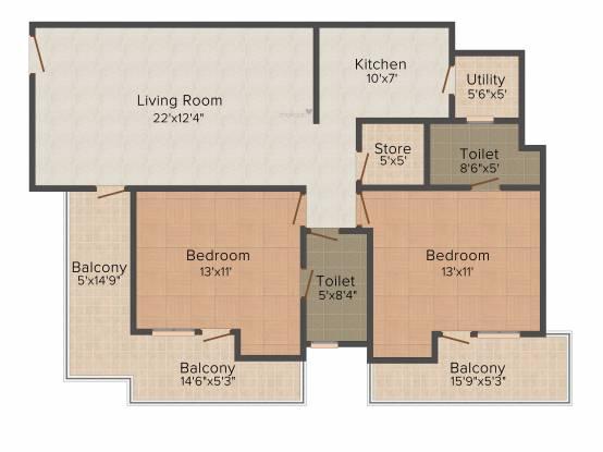Sushma Sushma Green Vista (2BHK+2T (1,276 sq ft) Apartment 1276 sq ft)