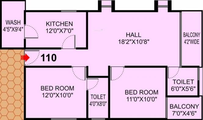 Shri Krishna Solitaire Park (2BHK+2T (1,127 sq ft) Apartment 1127 sq ft)