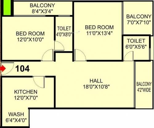 Shri Krishna Solitaire Park (2BHK+2T (1,232 sq ft) Apartment 1232 sq ft)