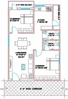 Manasa Vensa Ashraya (2BHK+2T (980 sq ft) Apartment 980 sq ft)
